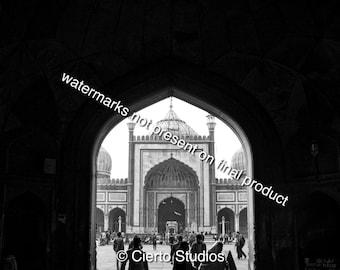 Gates of Jama Masjid, Delhi - black and white digital download