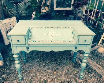 SOLD! Vintage, Secretary Desk, Green/Blue, Mosaic, Mother of Pearl Inlay, Painted,