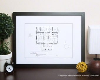 Psycho Residence of Norman Bates Floor Plan |   Famous TV Show Art Print | Blackline Poster | Christmas Gift | Today Show Featured Artist!