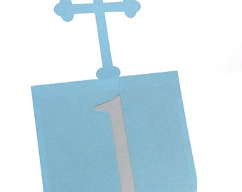 Cross Table Numbers Set of 1-10, Baptism Table numbers, Christening, First Communion, Wedding table numbers,