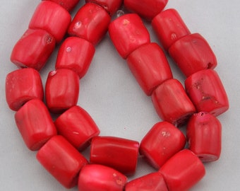 About 19 Pieces Red coral beads,One Full Strand,coral Beads,Gemstone Beads---13-16mmx15-28mm---16inches----S175