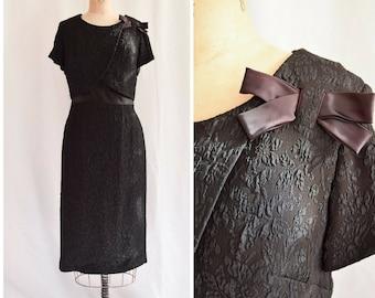 1960s Cocktail Dress | Renmor | Vintage 60's LBD Textured Floral Matelassé Crossover Front Satin Bow Belt Little Black Dress Bust 38