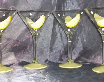 12 oz. Hand painted Martini Glasses, set of 4