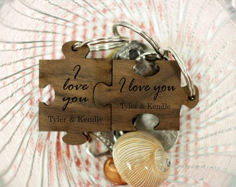 Puzzle Piece Keychains, Fit Together Puzzle Piece Keychain, Cute Wooden Engraved Keychain, Walnut Wood Keychains --31006-KC05-002