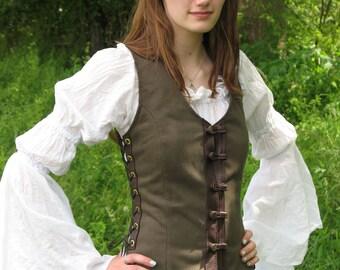 Elven Vest - Elven Clothing - Womens Vest - Denim Vest - Medieval Vest - Renaissance Vest