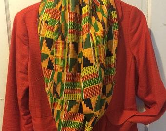 Kente Print Infinity Scarf ~ African Print Infinity Scarf