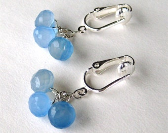 Sky Blue Clip On Earrings, Silver Clipons, Blue Chalcedony Briolettes, Gemstone Earrings, Handmade, Ciel