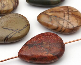 5 pcs red creek jasper teardrop beads, flat multicolor semiprecious stone 25mm