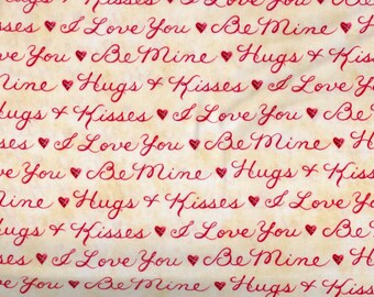 Heart Strings fabric romantic words sayings hugs kisses love  - Henry Glass - YARD