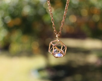 Gold Modern Geometric Necklace | Crystal Clear Diamond || 3D Minimalist & Rustic Jewelry || Gift for Her, Wedding Bridesmaid Jewelry