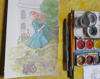 A Trip Home - Original Art Watercolor Sketch of Comic Illustration