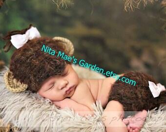 Baby Monkey Hat Newborn 3m 6m Boys Girls Crochet Beanie Photo Prop Gender Neutral CUTE Hat Perfect Year Round Halloween Costume Soft