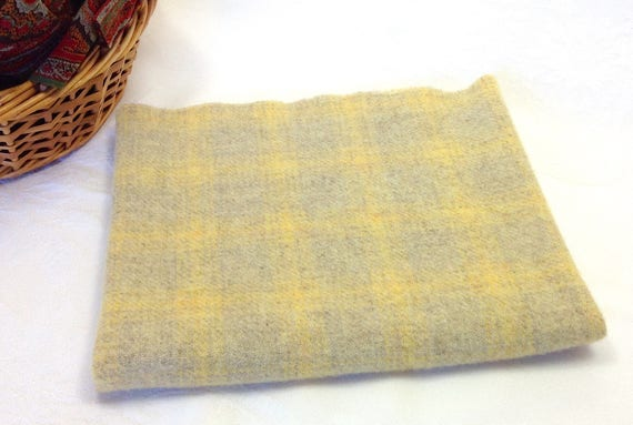 Fat 1/4 Yard, Lemon Plaid, Mill Dyed Wool Fabric for Rug Hooking and Applique, W362, Lemon Yellow and Dove Gray Plaid