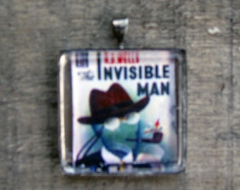 INVISIBLE MAN NECKLACE White Jewelry Gift for Him or Her Printed on Recycled Paper Under Glass Shield