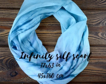 Blue loop scarf - silk hand painted  infinity chunky women scarves neck wrap 17x63in