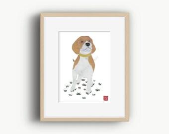 Beagle Print, Beagle Dog, Beagle Art, Beagle Gift, Beagle Illustration
