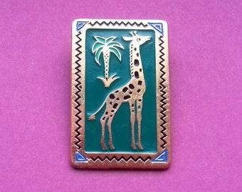 Giraffe Pin. Vintage collectible badge, Animal badge, Fauna, Made in USSR, 1980s