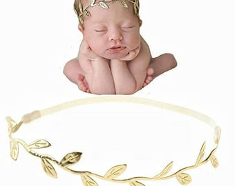 Gold Leaf Elastic Headband