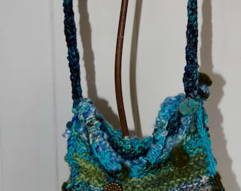 Knit Art Yarn Purse *Blue Green and Turquise * Hand Spun Chunky Wool Yarn * Pocket Book * Clutch * Hand Bag * OOAK * Gift for Her