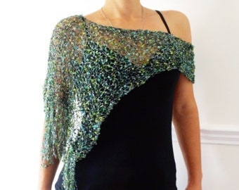Poncho Knitting PATTERN- Party Glitter Wrap, Asymmetrical Loose Metallic Knit Evening Poncho,See-through Shoulders Cover up