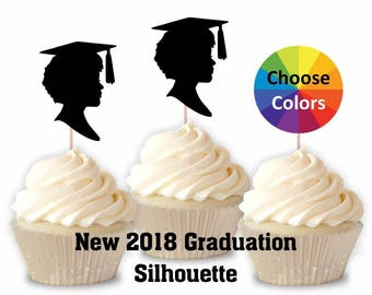 Graduation Cupcake Topper Girl Silhouette Confetti 2018 Party Decoration Supply Straw Topper 2 1/2 Inch New 2018 Silhouette  Set Of 15