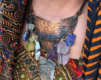 Made to order: Gorgeously Massive on Leather AND Copper CHAKRA Breastplate