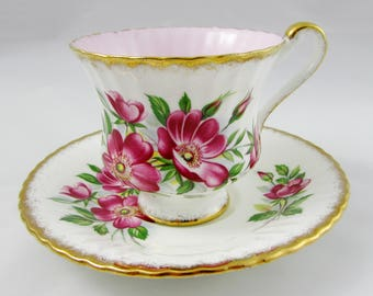 Paragon Tea Cup and Saucer with Flowers and Pink Center, Vintage English Bone China