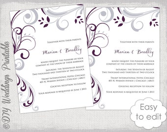 "Wedding invitation template plum and Silver gray ""Scroll"" invitations Print at home YOU EDIT  invite digital Word /JPG instant download"