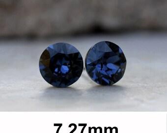 7.27mm, Montana Earrings, Blue Crystal Studs, Swarovski Xirius, Rhinestone Stud Earrings, Crystal Stud Earrings, Montana Crystal Earrings