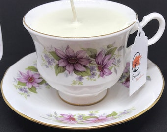 "8oz. Hand Poured Soy Candle -  White Tea and Berries in a Vintage ""Royal Kent"" Bone China Tea Cup"