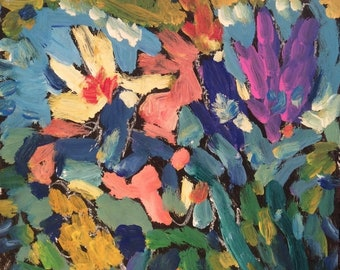 Iris painting,  garden flowers. floral painting, bold brushwork and colorful springtime art, with FREE SHIPPING by Russ Potak Artist