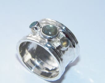 Handcrafted Hammered.925Sterling Silver Band Ring Labradorite Stones-Custom Size