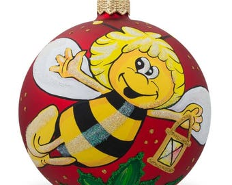"""4"""" Flying Bee Collecting Honey Glass Ball Christmas Ornament"""