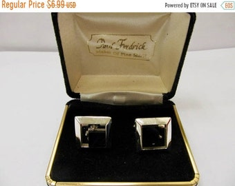 On Sale Vintage Silver Tone and Black Square Cuff Links Item K # 3038