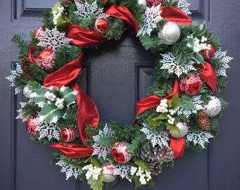 Couronnes de Noël, couronnes de rouge et blancs, couronnes de vacances rouge, couronnes de feuilles persistantes, cadeau pour elle, rouge de couronnes de Noël, Noël décor blanc