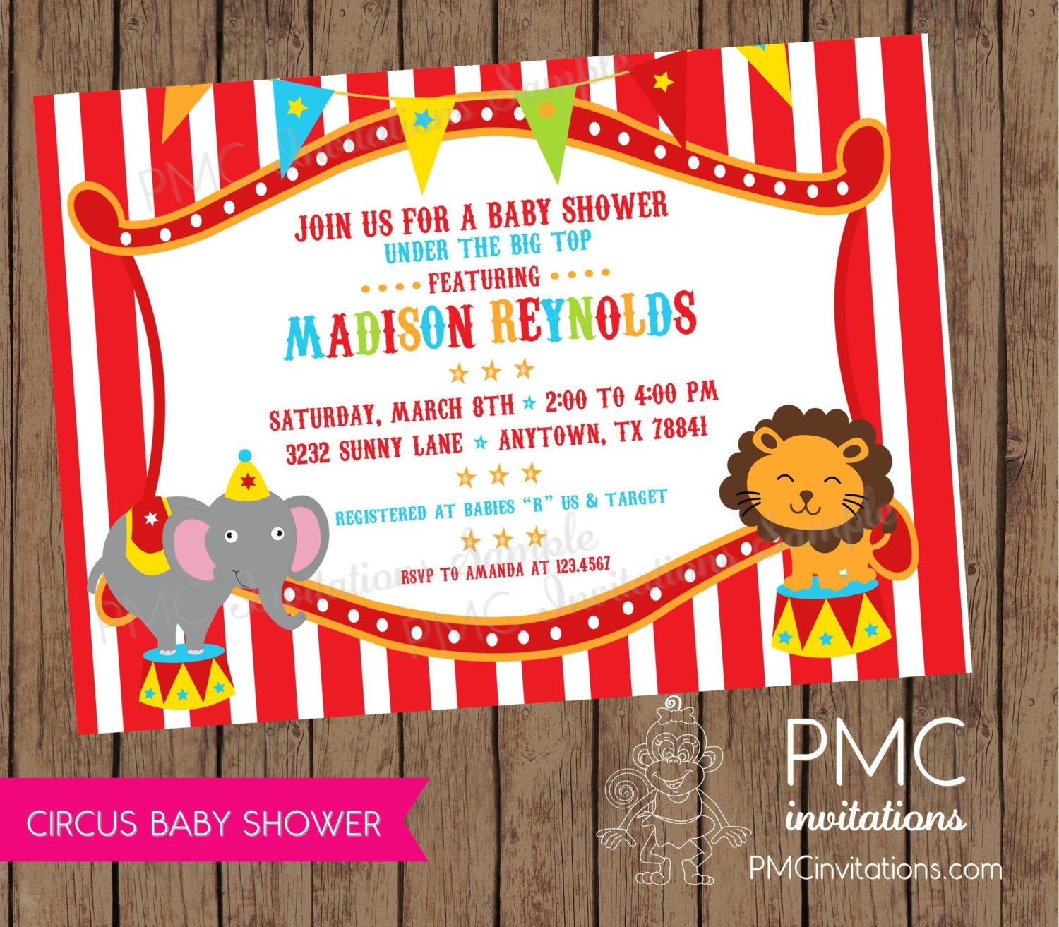 Circus Baby Shower Invitations 1.00 each with envelope