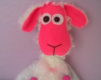 FREE US SHIPPING Mohair Little Lamb White Artist Bear Pink Stuffed Animal Plush Plushie Soft Softie Cute Ooak Gift Hand-sewn
