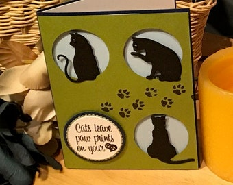 Cat sympathy card, Black cat card, Cats and paw print card,