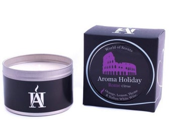Luxury ROME CITRUS Scented Travel Candle by Aroma Holiday