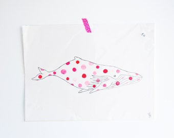 A3 Pink Polka dot Whale - Original Artwork