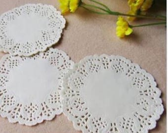 100x 3.5inch white lace paper doilies - favors crafting baking scrapbooking favor boxes gift boxes decorating DIY project