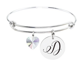 Initial Bangle made with Crystals from Swarovski - D - SWABANGLE-GLD-AB-D - Silver