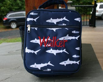 Boys Monogrammed Navy Shark Lunch Bag Shark Lunch Tote
