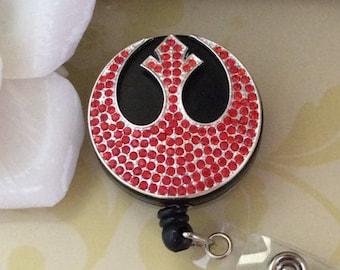 Bling Rhinestones Crystals Rebel Alliance Symbol Logo Star Wars Retractable ID Badge Reel, Heavy Duty Retractable ID Badge Reel