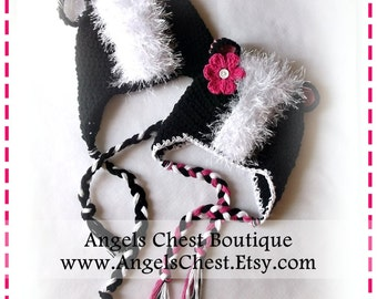 CUTE SKUNK Earflap Crochet Hat Pattern Size Newborn to Adult Boutique Design - No. 44 by AngelsChest