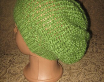 Angora hat, autumn hat, knit hat, knitted hat, woman hat, girl hat, Slouchy hat, Hand Knit Hat, Green hat, infinity scarf