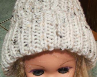 Heather beige/brown hat - made beaded sides - handmade (men or women)