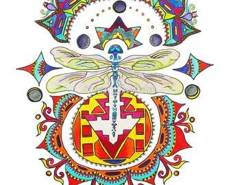 Dragonfly Art/Sun and Moon Art/Tribal Art/Spirit Animal Art/Spiritual Art/Vela Fine Art/Matted Art/Reclaimed Wood Frame/Canvas Prints