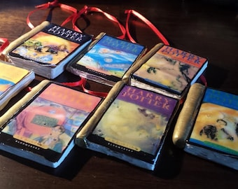 Handmade Clay Harry Potter / Lord of the Rings / Hitchhikers guide / Twilight / Wheel of Time Book Ornaments