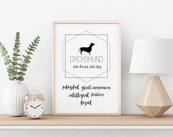 Dachshund poster, dachshund gift idea, dachshund art, doxie lover gift, dachshund, dog lover, i love my dachshund